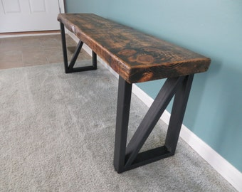 Reclaimed wood bench with steel legs