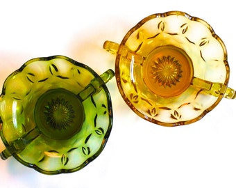 Vintage 60's Double-Handled Colored Glass Dish in Green or Amber