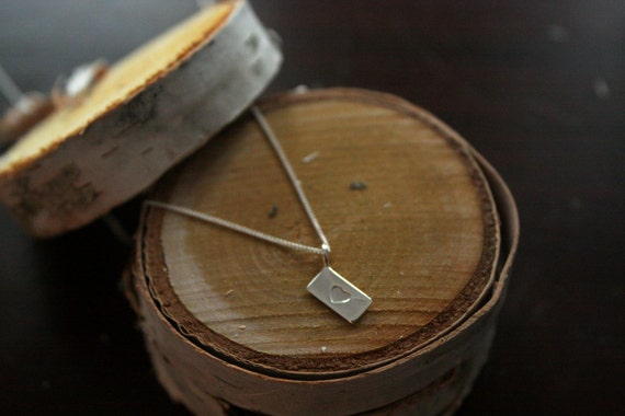 """Recycled Sterling Silver Love Letter Envelope Necklace Made in NYC-16"""" Sterling Silver Chain"""