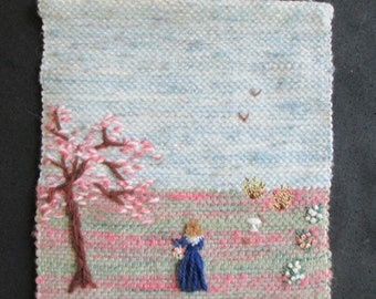 SALE -Handwoven wall art , Woman in a park,  8x11""