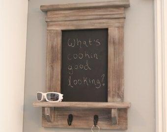 Distressed Grey Chalkboard Key Holder with Shelf Message Center Rustic Memo Board Craftsman Style Frame