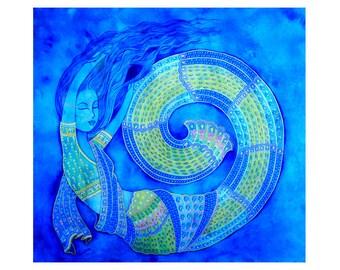 Original painting, Radha, Indian miniature style, cold colors, mystical night, spiritual love