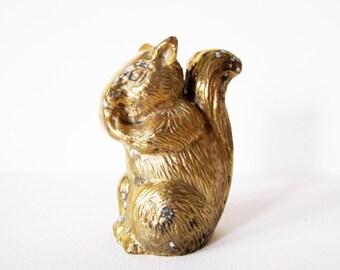 Vintage Solid Brass Squirrel Figurine Paperweight