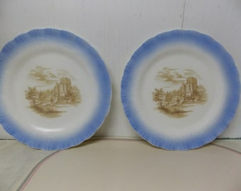 MacBeth-Evans 1930s-40s Chinex Classic Dinner Plates, Castle Design, Set of 2