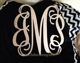 16 INCH Wood Monogram Letter - Great for Wedding, Door and Wall Decor - Unpainted