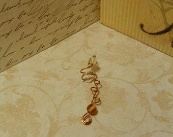 Copper wire and glass bead ear cuff
