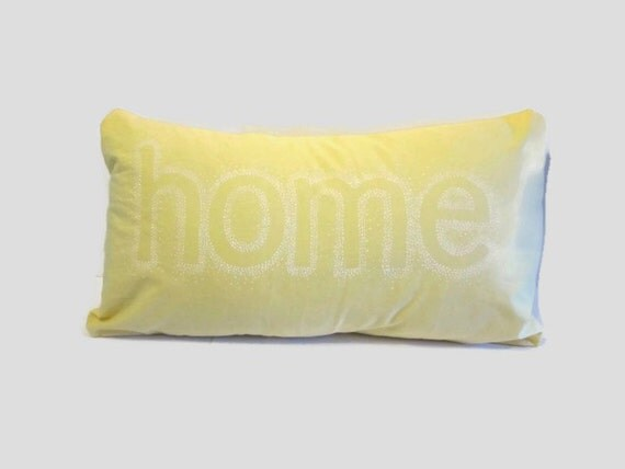 Throw Pillow With The Word Home On It : Decorative Pillow Home Word Pillow Lemon Yellow by emilykatemakes