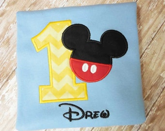 Mickey First Birthday Numberl Applique T shirt Onesie, Second Birthday,Third Birthday