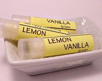 Natural Lip Balm, Lemon Vanilla, Natural Handmade Chapstick, Creamy Lip Balm with Cocoa Butter
