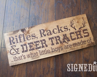 Rifles, Racks, & Deer Tracks Wood Sign