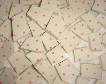 Pretty Pink Polka Dots on White mosaic tiles