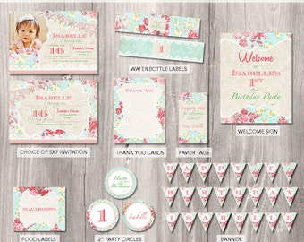 Shabby Chic Party Package - Shabby Chic Birthday Invitation - Shabby Chic Party - Garden Tea Party Party Package, Pink Vintage Party Package