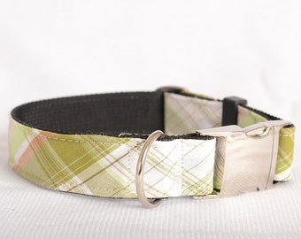Dog Collar with Personalized Buckle,Mint green Check,Fabric 04