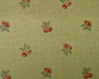 Half Yard-Kono Sanae Color Palette- Cherries Print in Green Background