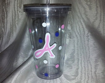 16 Oz Acrylic Tumbler with Acrylic Straw With Your Initial and Polka Dots