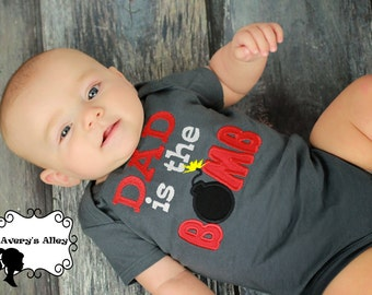 Dad is the Bomb - Boys Charcoal Gray Applique Shirt or Bodysuit for Father's Day