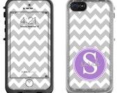 Gray Chevron Purple Monogram - Lifeproof iPhone 6 Fre, LifeProof iPhone 5 5S 5C Fre Nuud, Lifeproof iPhone 4 4S Fre Case Decal Skin Cover