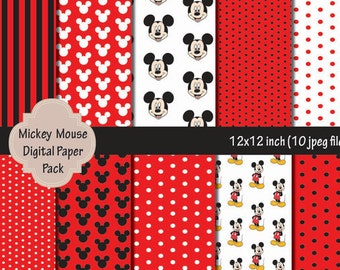 INSTANT DL- Mickey Mouse Digital Paper Pack - Printable Birthday party - Digital Scrapbook Paper