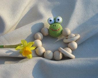 Crochet frog Amigurumi Baby teething toy Crochet baby toy Eco friendly Rattle Baby Shower Gift  Crochet beads rattle