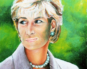 Authentic - Lady Di - Oil on Canvas portrait Lady Diana Spencer princess of Wales painting Croatia 54x37 cm
