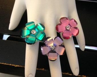 Faceted Flower Adjustable Ring