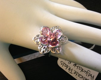 Delicate Petals Adjustable Ring - handmade in the U.S.