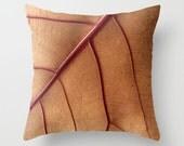 Red Tan Toss Pillow-Cranberry & Caramel Pillow Cover-Leaf Toss Pillow-Nature Throw Pillow-Rectangular Accent Pillow-Square Pillow Cover