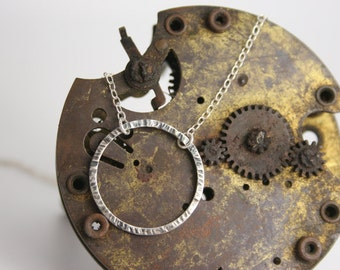 Silver Circle Bar Necklace