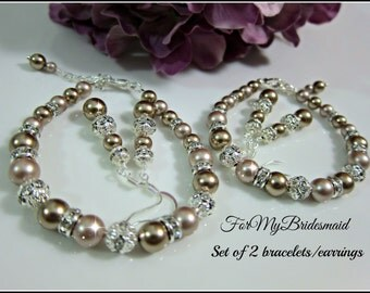 Set of 2 Bridesmaid jewelry bracelet with earrings Swarovski Pearls Spring summer Wedding Brdesmaids Gifts Champagne brown bracelets