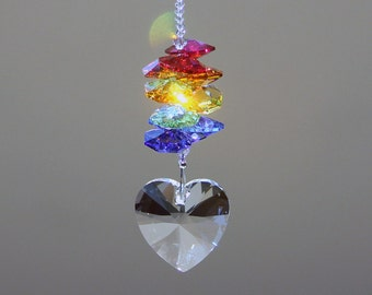 "Rainbow Heart Crystal Suncatcher, 12 Beautiful Swarovski Crystal Octagons in Rainbow Colors with a 28mm Heart Prism Hanging Below, 7"" Long"