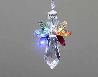 "Rainbow Angel Crystal Suncatcher, 6 Beautiful Swarovski Crystal Octagons in Rainbow Colors with a 38mm Prism and Crystal Halo, 6"" Long"