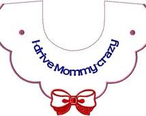 Girls bib instant download design Girls bib embroidery design Bib embroidery design download