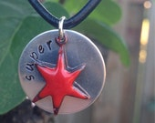 Superstar stamped silver disc with enameled copper star necklace