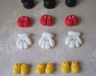 12 Edible Fondant Mickey Mouse Inspired 3d Cupcake Toppers
