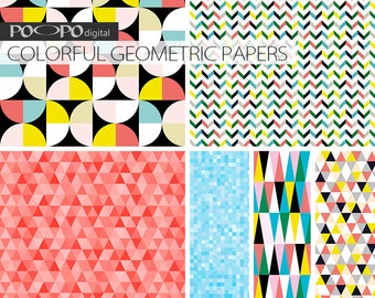 Geometric digital papers, geometrical, colorful, red, blue, triangle, triangles, square, mosaic chevron, multi color, geometric pattern