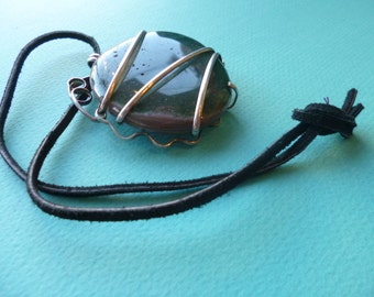 Onyx Pendant Wrapped in Sterling Silver on Leather Choker Necklace 1980s