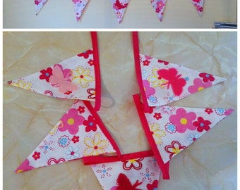 Butterflies & flower fabric bunting 5 flags