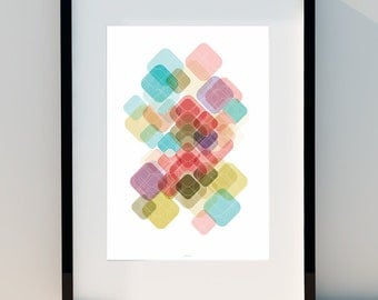 """Geometric poster """"Lozenges & Game Colors"""" Art for home, Poster, home, wall decor, Print Design, A2, A3 or A4"""