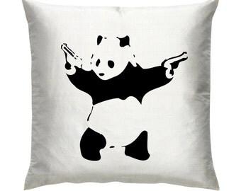 """Banksy Panda Graffiti Artist Cushion/Pillow 18"""""""