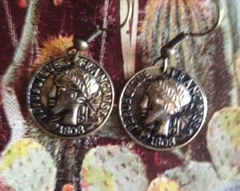 Greek medal earrings