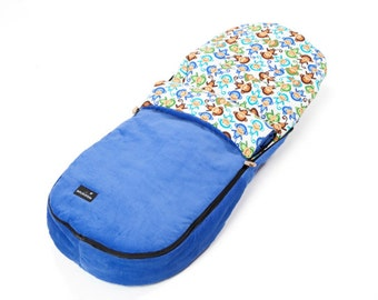 Footmuff / Cosey Toes - Cheeky Monkeys (Bright Blue Footmuff) - Universal Footmuff for Bugaboo, Baby Jogger, iCandy, UppaVista and many more