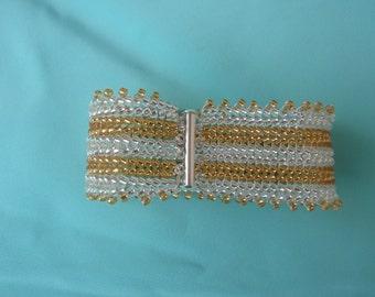 Golden Day Beaded cuff bracelet