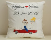 Personalized Embroidered Wedding Cushion Cover. Wedding anniversary pillow. French Linen Embroidered. Gift cushion.