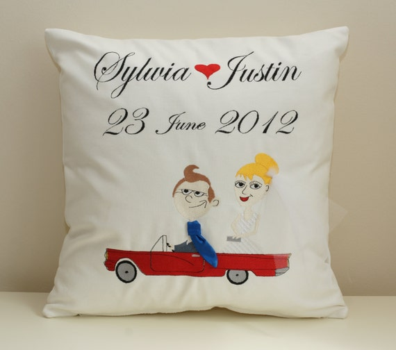 Personalized embroidered wedding cushion cover