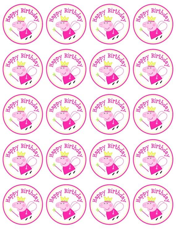 Instant Download Peppa Pig Favor Tag/Circle labels