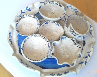 Passover Seder plate, Pesach Seder plate with individual bowls, Handmade ceramic Judaica, Miriam's Seder plate