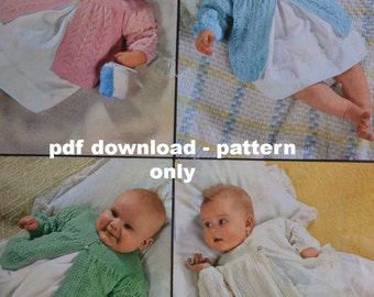 Vintage knitting pattern baby matinee jacket pdf four baby matinee coats INSTANT download pattern only pdf 1960s 18 inch chest