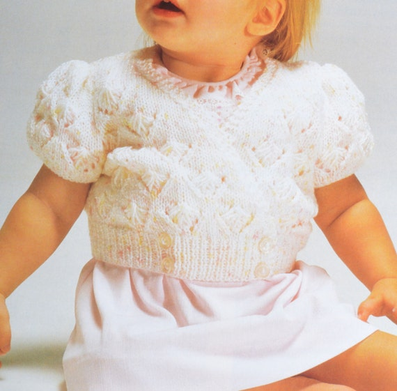 PDF babys cute cardigan short sleeves vintage knitting pattern pdf INSTA...