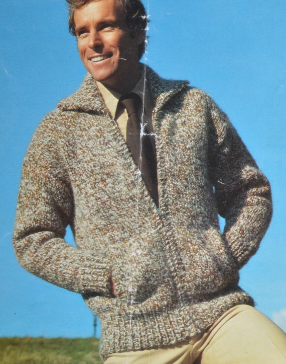 Knitting Pattern Zippered Cardigan : Mens zip up cardigan bomber jacket vintage knitting
