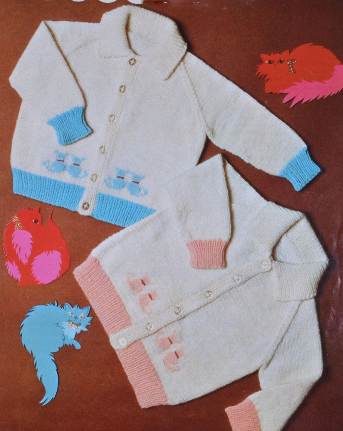 71c53fb2be3b Baby cardigan knit pattern intage knitting pattern cute kitten cat sizes 18  to 23 inches pdf INSTANT download pattern only from TheVintageWorkbox on  Etsy ...